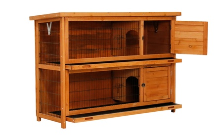 Wooden Rabbit Hutch Bunny Cage Small Animal House Pet Cage 240fb4b7-d8ef-498b-94a6-03d96e71c3c2