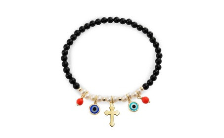 Bling Jewelry Simulated Onyx Evil Eye Cross Gold Plated Bracelet 0f9aa7d6-e6cb-449f-8c75-e429b15d0fd7