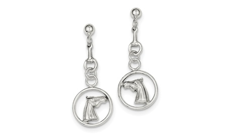 Sterling Silver Horse Dangle Post Earrings (1.4In x 0.5In )
