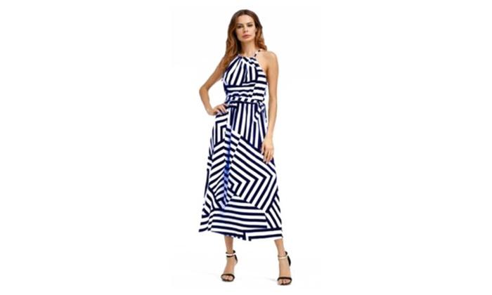 Women Casual Slim Black White Striped Dress Chiffon  Elegant Dress