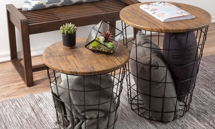 Nesting End Tables with Storage- Set of 2 Convertible Side Tables by Lavish Home