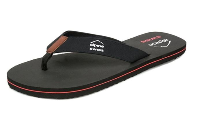 Alpine Swiss Men's Flip Flops Beach Sandals Lightweight