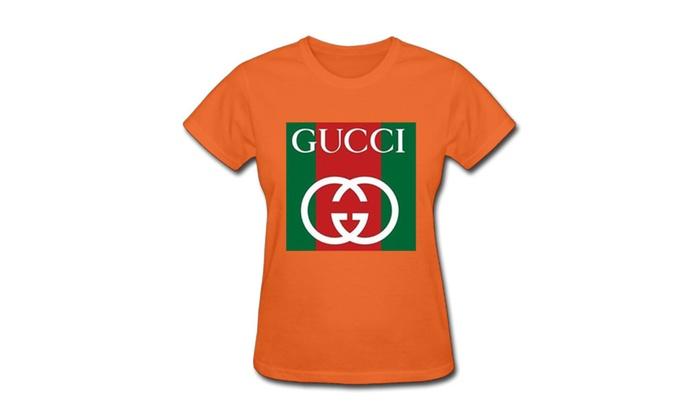 a31fd306a Arthurblair Gucci Logo Womens Short Sleeve T-shirts Orange | Groupon