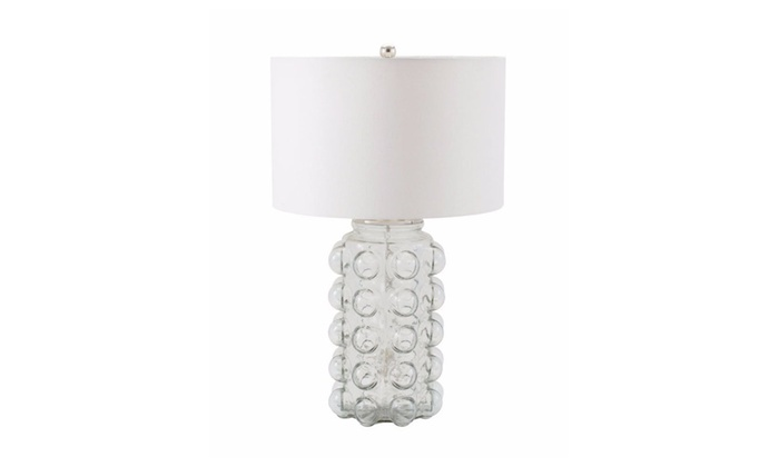 Clickhere2shop: Dimond Lighting Bubble Table Lamp In Clear Glass With Off  White Shade ...