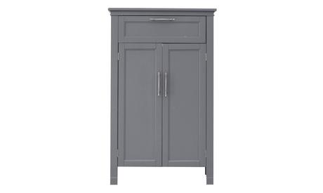 Bathroom Floor Storage Cabinet with Double Door and Adjustable Shelf Grey