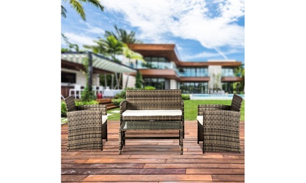 4-Piece Outdoor Leisure Rattan Furniture Rattan Chair Wicker Set with Table
