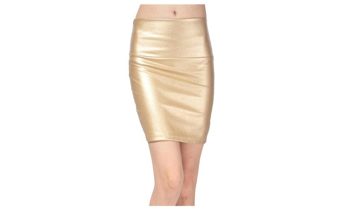 Women's Faux Leather Slim Fit Pencil Mini Skirt