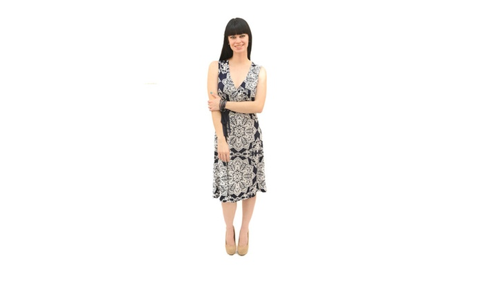 Xehar Women's Overlapped Front Sleeveless Navy Paisley Dress