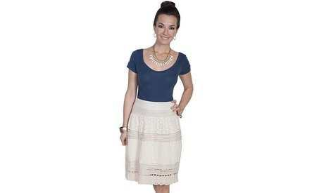 Scully HC210-IVO-S Womens Multi Panel Short Skirt Ivory - Small