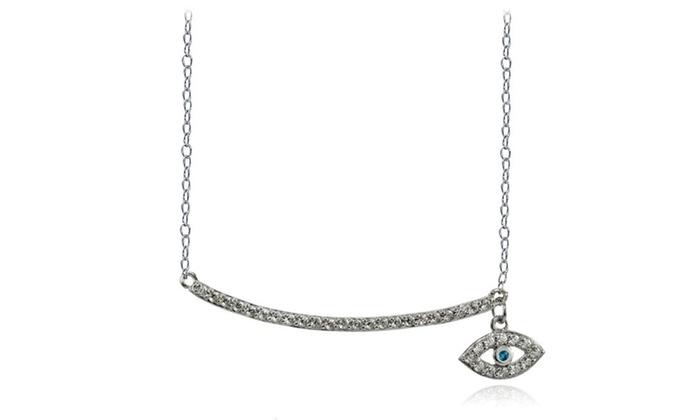 Sterling Silver Aqua Cubic Zirconia Dangling Evil Eye Bar Necklace