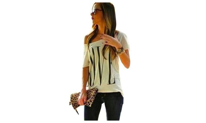 Women's Love Print Off Shoulder Short Sleeve T Shirt Tops