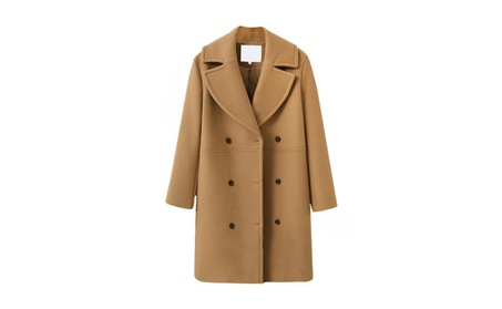 Women's Double-Breasted coats Solid Color Outdoor Overcoats 444dd455-5ec4-4cfc-bd7b-dc96cb83ad1a