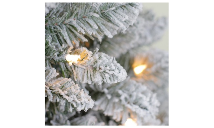 Pre Lit 6 5' Crystal Pine Artificial Christmas Tree Clear Lights  - Christmas Tree Discounts