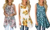 Women's Summer Casual Sleeveless Swing Tunic Fashion Floral Tank Tops