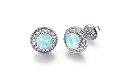 Oceanic Opal Pav'e Stud Earrings in 18K White Gold Plating Was: $69.99 Now: $7.99