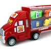 Race Semi Trailer Transporter Vehicle with 10 Cars (Colors May Vary)