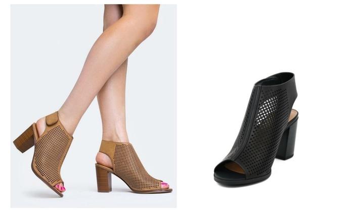 City Classified Roadway Peep Toe Chunky Heel Booties - Black & Tan
