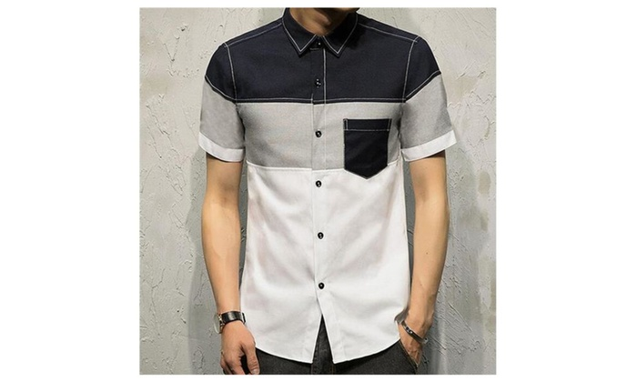 a7452bfc0e3e TLXC Summer Men s Casual Short Sleeve Button Down Shirts with Pocket ...