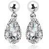 18K White Gold Plated White Crystal Teardrop Drop Earrings