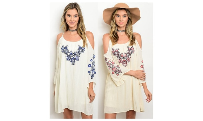 Open Shoulder Embroidery Long Sleeves Loose Tunic Dress