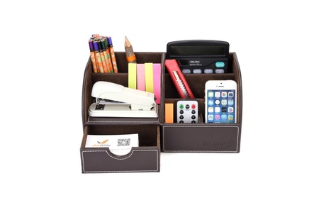 Home Office Supplies Leather Desk Organizer 6 Compartment Storage Box 8789a4d8-7cfd-4934-96db-4ff137ae50f4