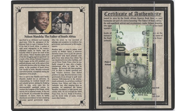 Album /& Certificate Nelson Mandela:The Father of South Africa 10 Rand Banknote