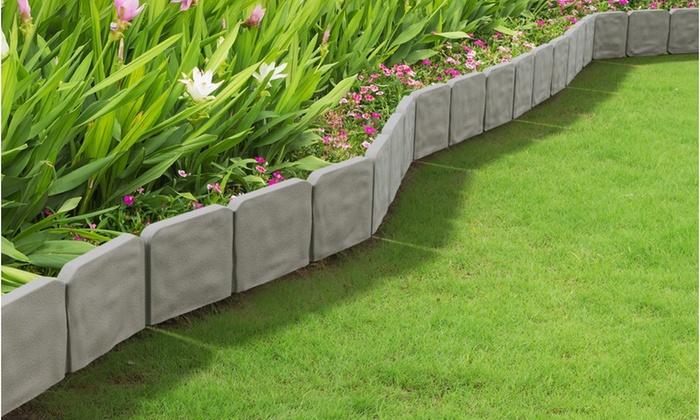 10 Piece Cobblestone Flower Bed Border By Pure Garden ...