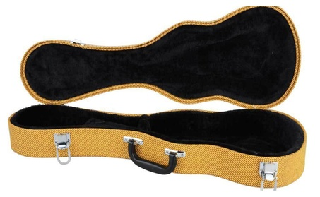 "New 21"" 24"" 26"" Ukulele Hard Case Leather Brown Yellow Black 2f6e2256-f87a-443c-9f39-67185a5e3cf6"