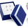 Pink Opal and Sterling Silver Stud Duo Set by MUIBLU Gems (2-Pair)