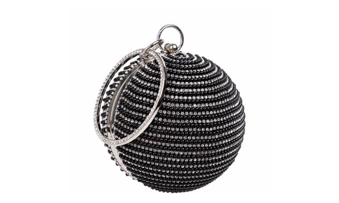 Round beaded wristlet evening bag