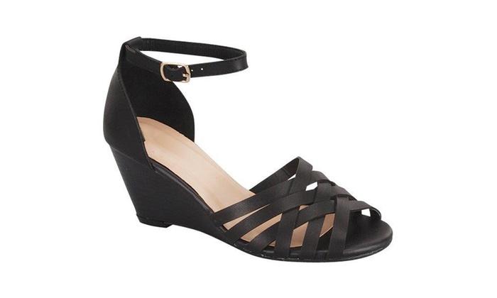 Womens Mid Wedge Ankle Strap Huarache Sandals SH0029