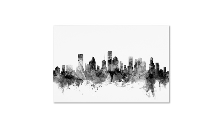 Michael tompsett 39 houston texas skyline bw 39 canvas art for Michaels craft store houston texas
