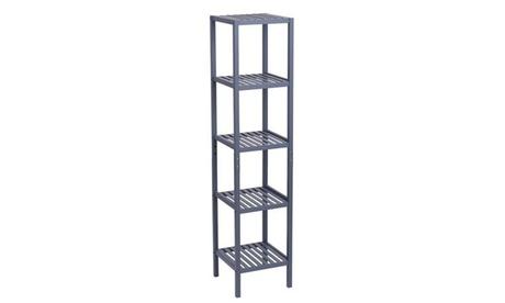 Bamboo Bathroom Shelf 5-Tier Storage Rack Shelving Unit 146*33*33cm Gray
