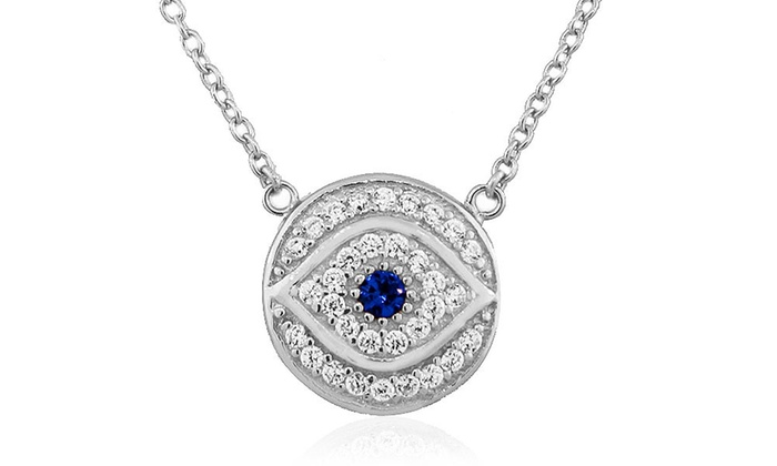 925 Sterling Silver Rhodium-plated White /& Blue CZ Hamsa Eye Charm Pendant