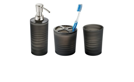 Set of 3 Plastic Soap Dispenser Pump, Toothbrush Holder Stand, Tumbler 821d7e00-1fbc-42a2-ad03-af92908947b0