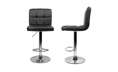 Adjustable Swivel PU Leather Bar Stools Chrome Chair Set of 2 a8dc10f8-f244-4f52-a85c-4591fbaeaba3
