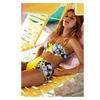 Women's Yellow Flower Flock High Waisted Bikini