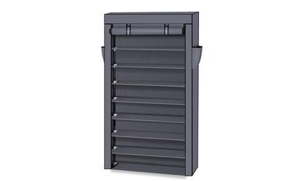10 Tiers Closet Storage Cabine Shoe Rack w/Dustproof Cover 4 Colors