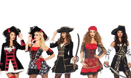 Leg Avenue Women's Black Sea Buccaneer Dress Set Sexy Pirate Halloween Costume