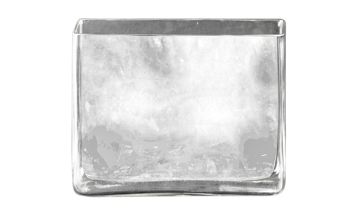 Glass Rectangular Vase With Rectangular Mouth Clear Glass Finish