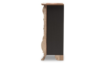 Romilly Black and Oak-Wood 5-Drawer Chest