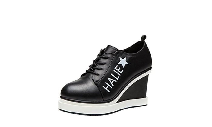 Kiwii Women Fashion Leather Lace Up Letter Star Ankle Platform Wedge Pump Shoes