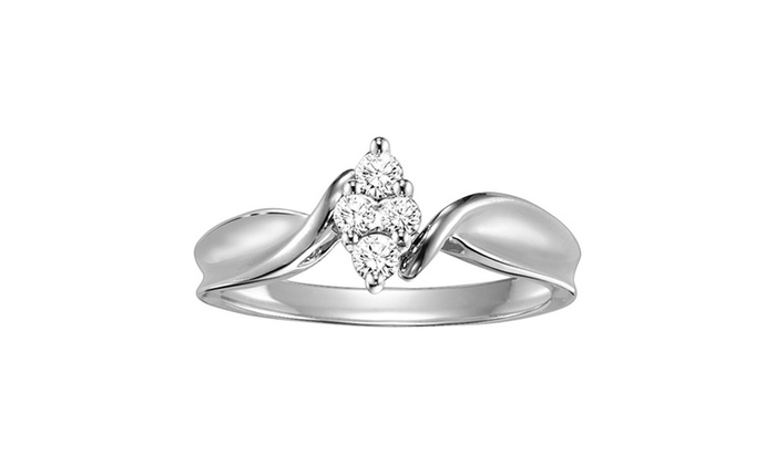 1/5 CTTW 10K White Marquise Engagement Ring by Cambridge Jewelry