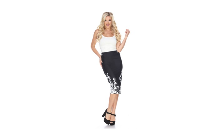 'Cynthia' Polyester and Spandex Pencil Skirt