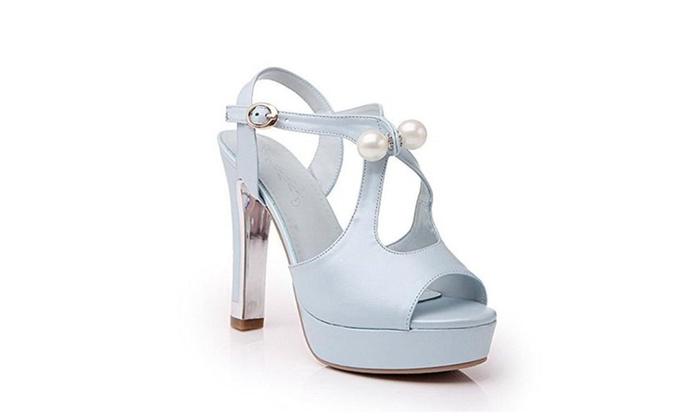 AmooTa Women's Peep Toe Buckle PU Solid High Heels Sandals