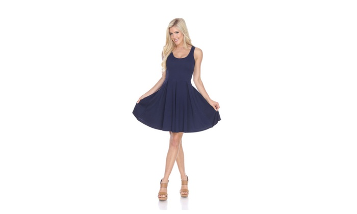 Navy 'Crystal' Fit and Flare Dress