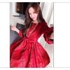 Women Short Length Slim Binding Waist Bow Halter Dress Red UWD413
