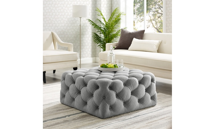 Awe Inspiring Gordon Velvet Or Linen Square Cocktail Ottoman Allover Squirreltailoven Fun Painted Chair Ideas Images Squirreltailovenorg