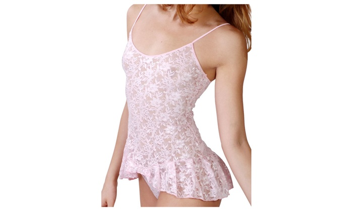 Pretty Lace Babydoll with Ruffle Bottom and Matching Thong