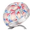 Colorful Flower Rose Enamel White Cubic Zirconia Stone Ring